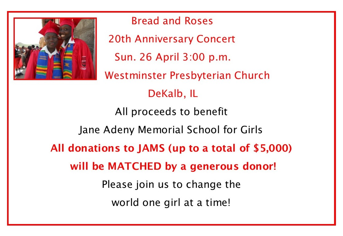 Bread & Roses Concert to Benefit  JAMS